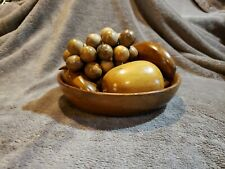 Vintage Wooden Fruit 8 Pieces and Bowl Mid Century