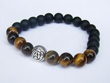 BLACK elasticated Bracelet 8mm TIGER EYE AGATE beads