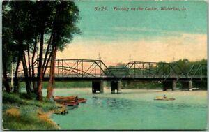 "Waterloo, Iowa Postcard ""Boating on the Cedar"" River / Bridge View - 1910 Cancel"