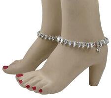 Traditional Silver Tone Anklet Payal Wedding Kundan Stone Ankle Bracelet Jewelry