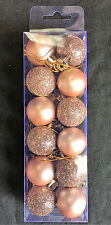 12 x Rose Gold Christmas tree Baubles Decorations Cute Small Mini Size