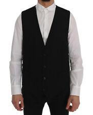 NEW DOLCE & GABBANA STAFF Vest Waistcoat Black Wool Stretch IT50 / US40 / L