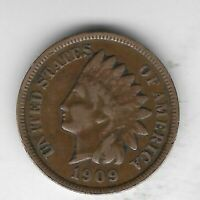 USA Old Antique 1909 US Indian Head Penny Cent Collection Coin LAST YEAR Lot:D10