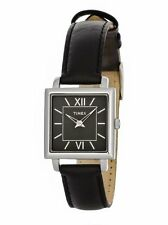 NEW-TIMEX ELEGANT BLACK LEATHER BAND+SILVER ROMAN #'S SQUARE DIAL+WATCH-T2M875