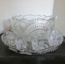 VTG LE Smith Glass Pinwheel Star Slewed Horseshoe Punch Bowl + Underplate + Cups