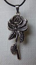 Rose Halskette Leder Kette Rosenblütel Blume Metall Silber Gothik Geschenk