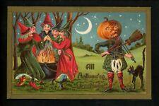 Halloween postcard Gottschalk 2171-3 2of2 Witches JOL Scottish man black cat