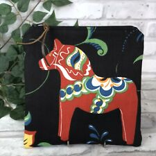 Swedish Dala Horse Black n Red Dalahäst  Kurbits Zipper Pouch Makeup Bag