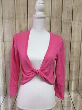 Talbots Long Sleeve Women's Pink Shrug Crop Top Front Overlap Low V Neck Medium