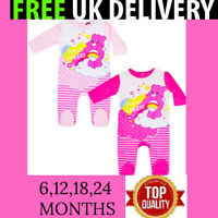 CARE BEARS BABY GIRLS PINK BABYGROW SLEEPSUIT ROMPER 6 12 18 24 MONTHS NEW TAGS