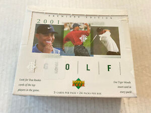 2001 UPPER DECK PREMIERE EDITION GOLF BOX FACTORY SEALED TIGER WOODS ROOKIE