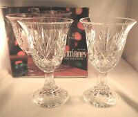 St. George Fine Lead Crystal Hurricane Footed Candle Holders Set Of 2