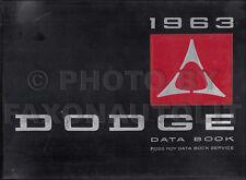 1963 Dodge Data Book Upholstery Dealer Album Dart Polara 880 440 330