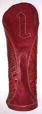 iliac Golf Headcover Driver 1 Red / Red Italian Croc Leather USA Made Custom New