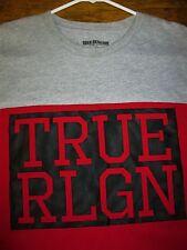True Religion Designer Jeans Men's 2XL Gray Red Graphic Tee T-Shirt