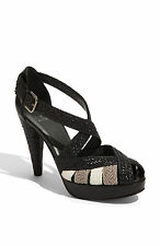 STUART WEITZMAN nero pelle intrecciata BRADFORD plateau tacco alto sandali 8.5 m