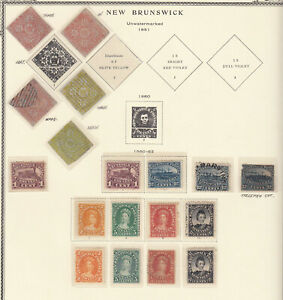 NEW BRUNSWICK 1851-63 ISSUES ON OLD ALBUM PAGE incl. 1851 3p red three singles a