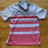 Adidas Climacool Golf Polo Men's Size Large White Red Stripe Casual Short Sleeve