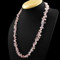 Earth Mined 216.50 Cts Untreated Single Strand Pink Rose Quartz Beads Necklace