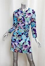 574fea3644e CACHAREL Blue Floral Mod Long Sleeve Shift Dress sz.4 NEW RT$565