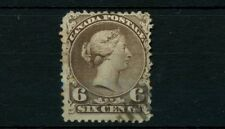 VF #27 SIX cent LARGE QUEEN fine stamp Canada used