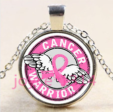 Wing Beat Breast Cancer Cabochon silver Glass Chain Pendant Necklace #4191