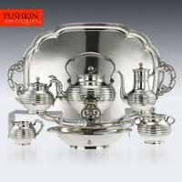 ANTIQUE 19thC IMPERIAL RUSSIAN SOLID SILVER TEA SERVICE, SAZIKOV c.1866