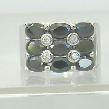 925 Sterling Silver Blue Sapphire and  CZ Ring September Birthhstone Size 8.55