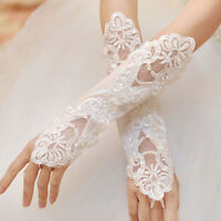 Sexy Bride Bridal Wedding Party Prom Fingerless Pearl Lace Satin Bridal Gloves