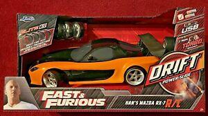 1:10 Fast & Furious Han's Mazda RX-7 Jada Elite R/C Radio Control Drift * RARE *