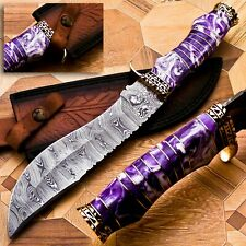 HANDMADE DAMASCUS STEEL HUNTING & BOWIE KNIFE WITH ACRYLIC SHEET & BRASS HANDLE