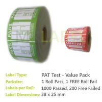 1000x PAT Test Labels PASSED with 200x FREE FAILED Labels