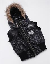 ED HARDY Kids Girls Black Puffer Vest Hooded Fur Trim Hood Zip-Up Jacket Coat T2
