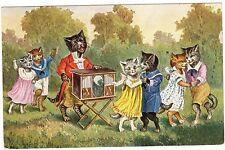 POSTCARD CATS DANCE TO ORGAN GRINDER THIELE OR SIMILAR O.G.Z.-L.