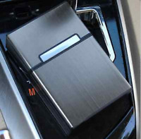 Black Aluminum Metal Cigar Cigarette Box Holder Pocket Tobacco Storage Case New