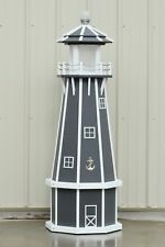5' Octagon (8 sided) Electric and Solar Powered Polywood Lighthouse, Gray/White
