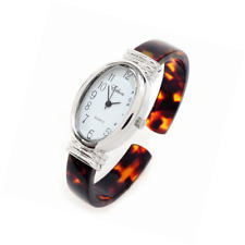 Tortoise Silver Acrylic Band Oval Face Women's Eikon Bangle Cuff Watch
