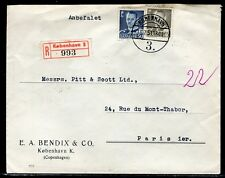 Danemark - Enveloppe commerciale en recommandé de Copenhague pour Paris en 1951