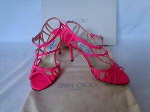 NEW JIMMY CHOO Ladies COLE Neon PINK Leather Heels Shoes UK 7 EU 40 RRP £485