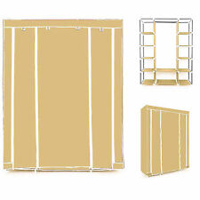 TRIPLE MULTIPLE CANVAS WARDROBE WITH HANGING RAIL HOME FURNITURE STORAGE