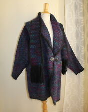 Sz M L Fiber Art-to-Wear Designer Artist Tweed Mohair Coat w/ Matching Scarf