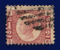 1879 SG49 ½d Rose Plate 20 G4 SB Misperf Good Used Cat £85 cocf
