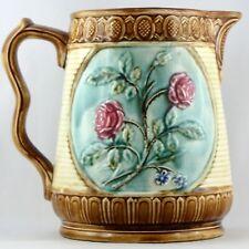 "PICHET BARBOTINE Ancien ""LES ROSES"" majolica/fleurs/onnaing/jug/sarreguemines..."