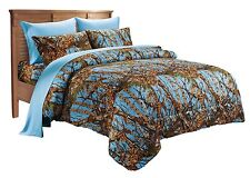 WOODS QUEEN SIZE 7PC SET POWDER BLUE CAMO COMFORTER SHEET CAMOUFLAGE BEDDING