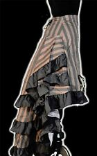 Gothic Victorian Steampunk Vintage Striped Layered Bustle Skirt