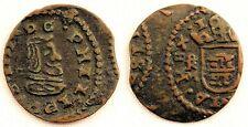 Spain-Felipe IV. 4 Maravedis (1663) Trujillo. Cobre 1,2 g. Variante-Descentrada