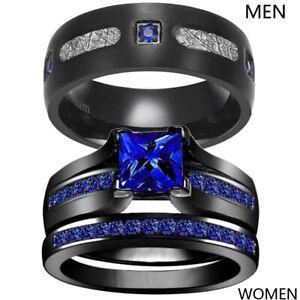 Couple Rings Black Titanium Steel Mens Band Blue CZ Women's Wedding Ring Sets