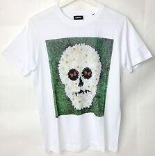 Diesel Men Oliver Hibert  Ice King Skull T-shirt White Multi Floral Size S
