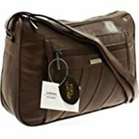 New Ladies Super Soft Nappa Leather Shoulder Bag Handbag with Two Main Zipped