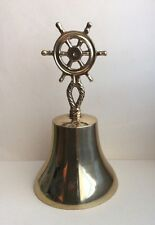 """Vintage Indian Navy Steering Wheel Lacquered Brass Dinner/School Bell 7.25"""" H"""